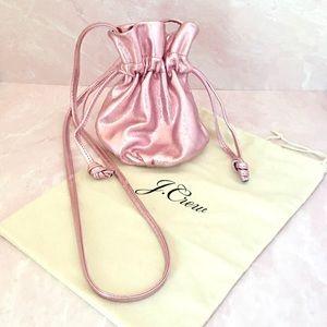 J. Crew Pink Mini Metallic Bucket Bag